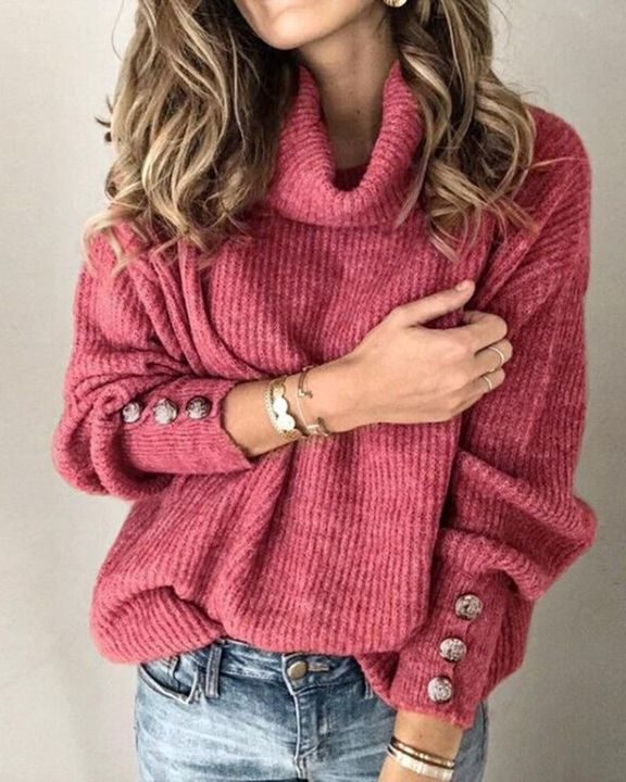 Solid Button Detail Ribbed High Neck Sweater gallery 3