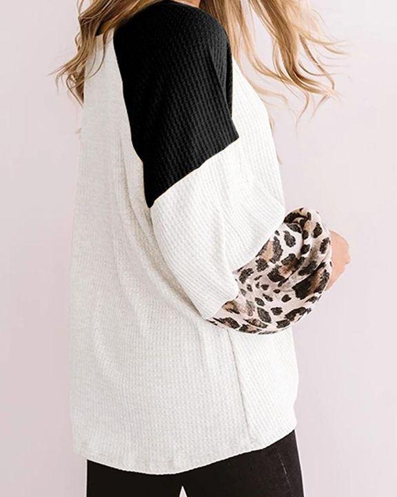 Cheetah Panel Colorblock Twist Front Drop Bishop Sleeve Sweater gallery 10