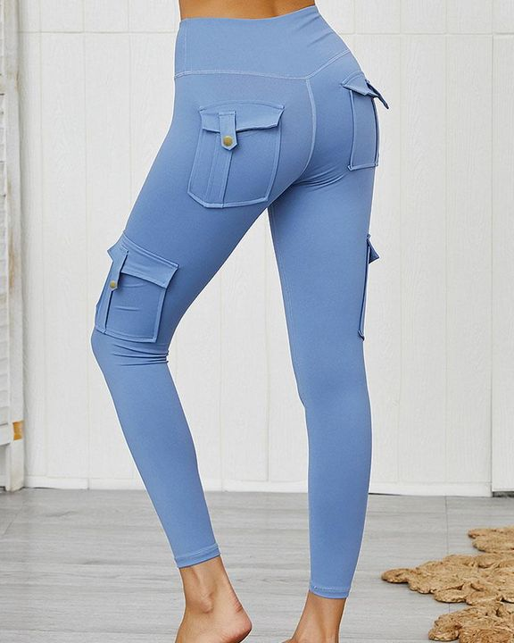 Flap Pocket Butt Lifting Top Stitching Sports Leggings gallery 4