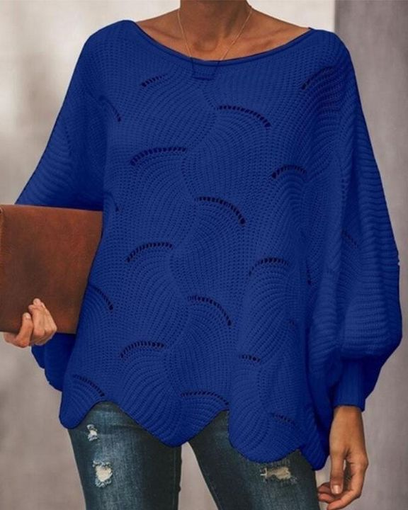 Solid Hollow Out Asymmetrical Hem Boat Neck Sweater gallery 3