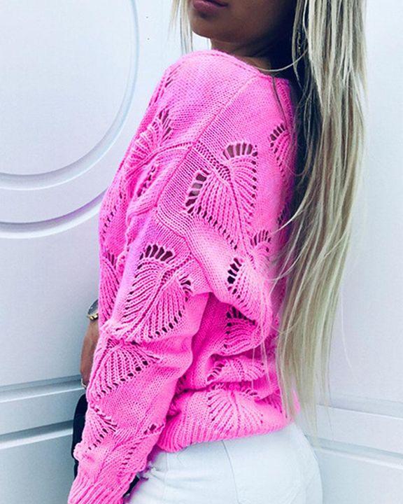 Pointelle Knit Drop Shoulder Bodycon Sweater gallery 4