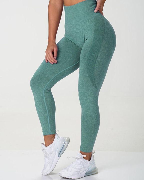 Solid Wide Waistband Contrast Stitch Sports Leggings  gallery 1