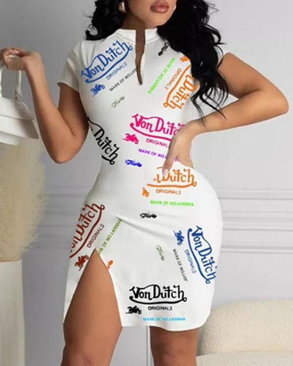 Letter Allover Print Split Hem Short Sleeve Dress gallery 2