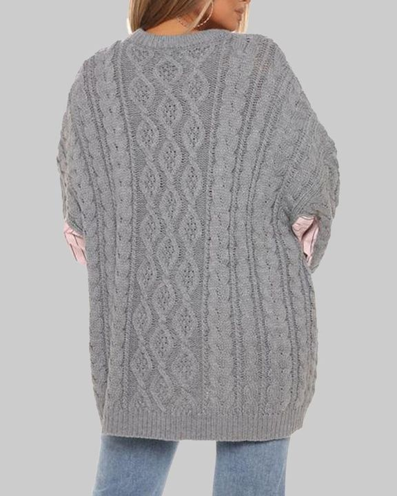 Colorblock & Striped Cable Knit Drop Shoulder Sweater gallery 4