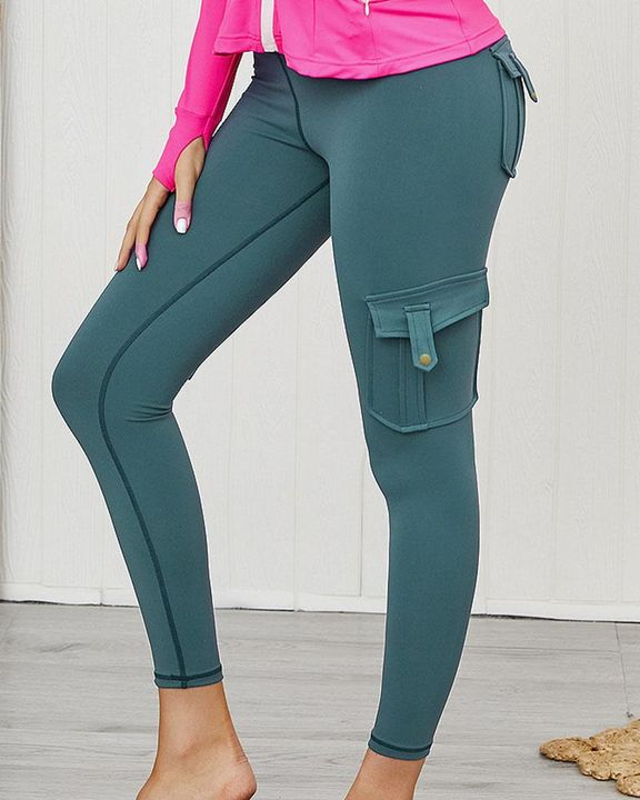 Flap Pocket Butt Lifting Top Stitching Sports Leggings gallery 6