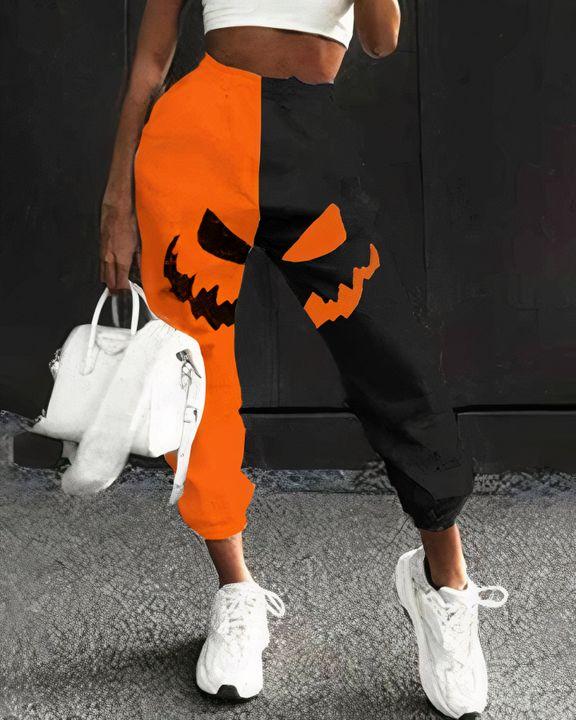 Colorblock & Halloween Skull Pattern Dual Pocket Joggers gallery 1