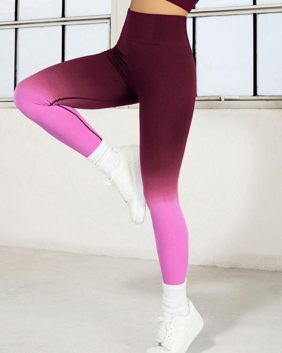 Ombre Wide Waistband Butt Lifting Sports Leggings gallery 3