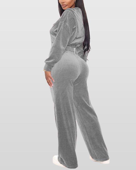 Solid Hooded Zipper Crop Top & Pants Set gallery 9