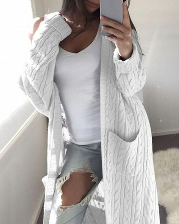 Solid Patch Pocket Open Front Cable Knit Cardigan gallery 6