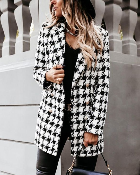 Houndstooth Double Breasted Lapel Neck Coat gallery 3