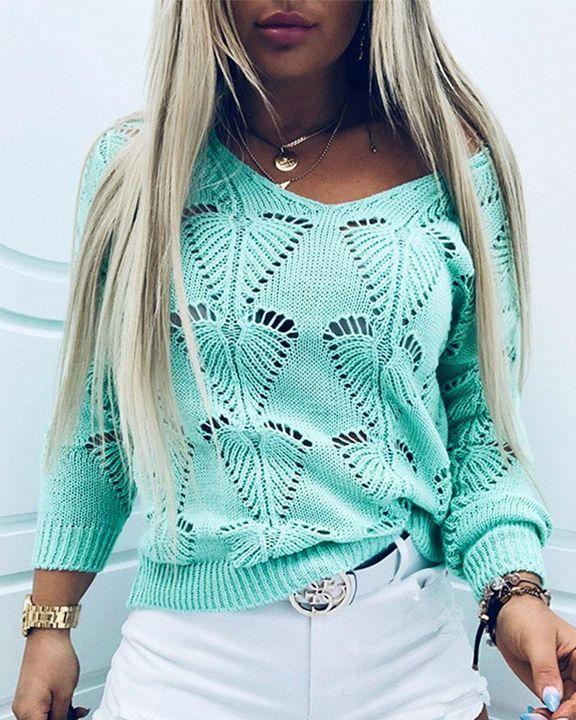 Pointelle Knit Drop Shoulder Bodycon Sweater gallery 2