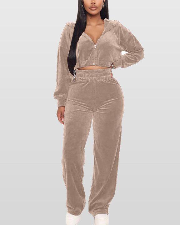Solid Hooded Zipper Crop Top & Pants Set gallery 6