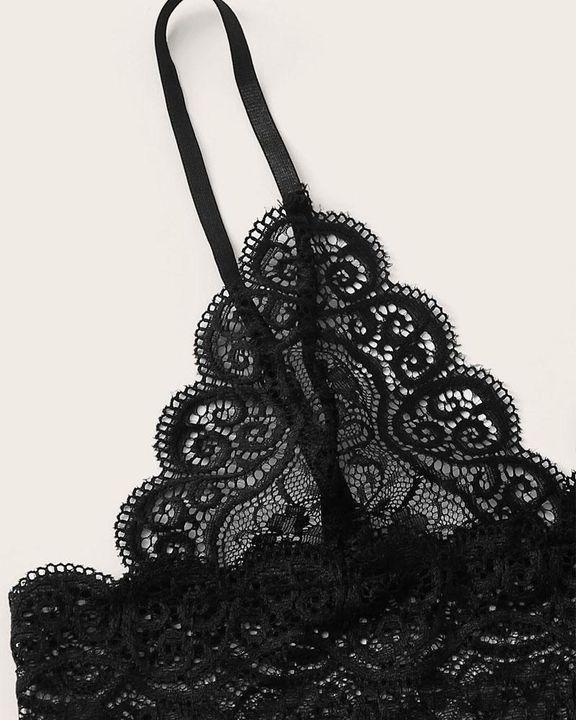 Satin Floral Lace Drawstring Bra & Panty Lounge Set gallery 3