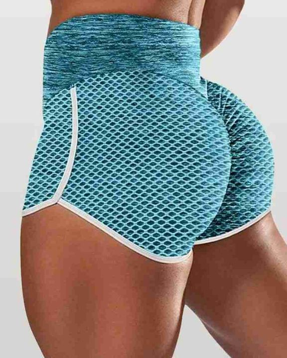 Textured Ruched High Waist Sports Shorts gallery 5