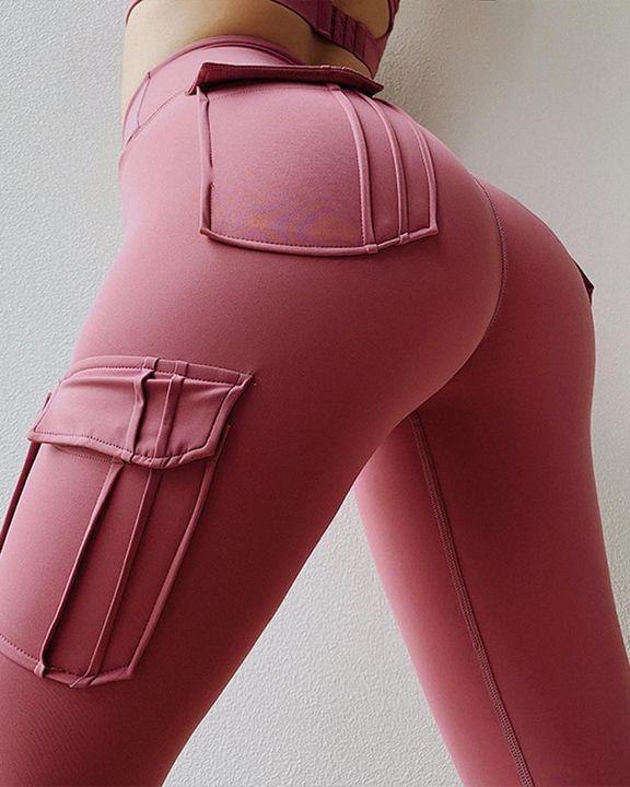 Flap Pocket Butt Lifting Wide Waist Band Sports Leggings gallery 3