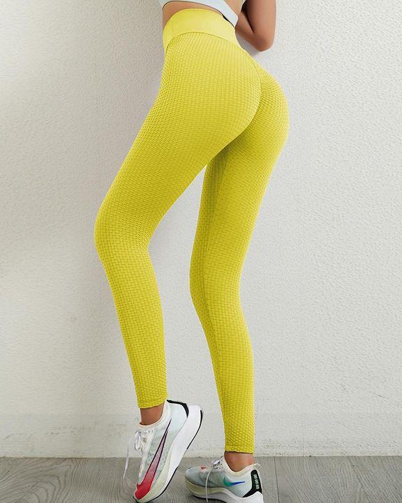 Solid Textured Wide Waistband Scrunch Butt Sports Leggings gallery 3