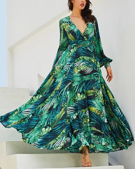 Tropical Print Belted Pleated Surplice Neck Maxi Dress gallery 1
