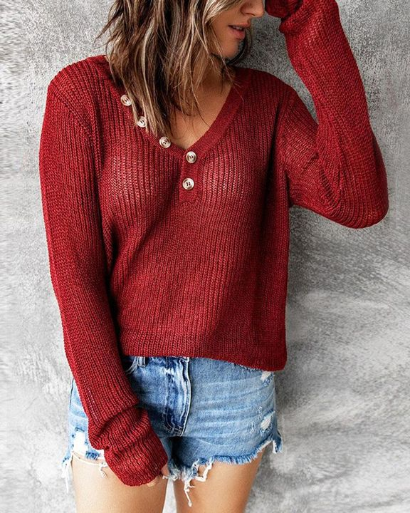 Chunky Knit Button Decor Sweater gallery 1