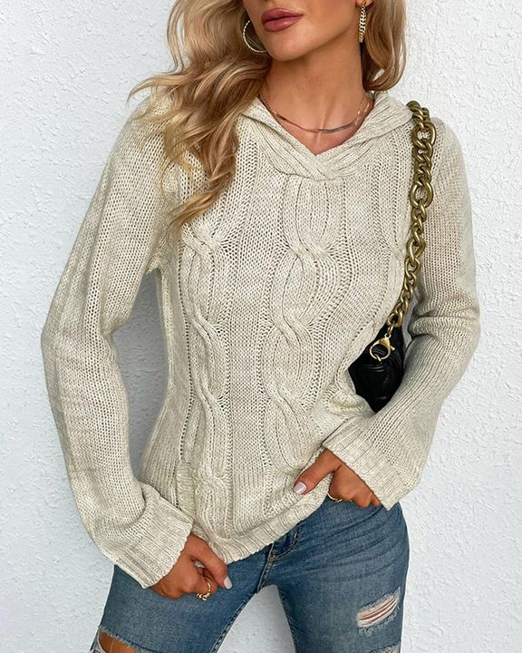 Cable Knit Long Sleeve V Neck Sweater gallery 3