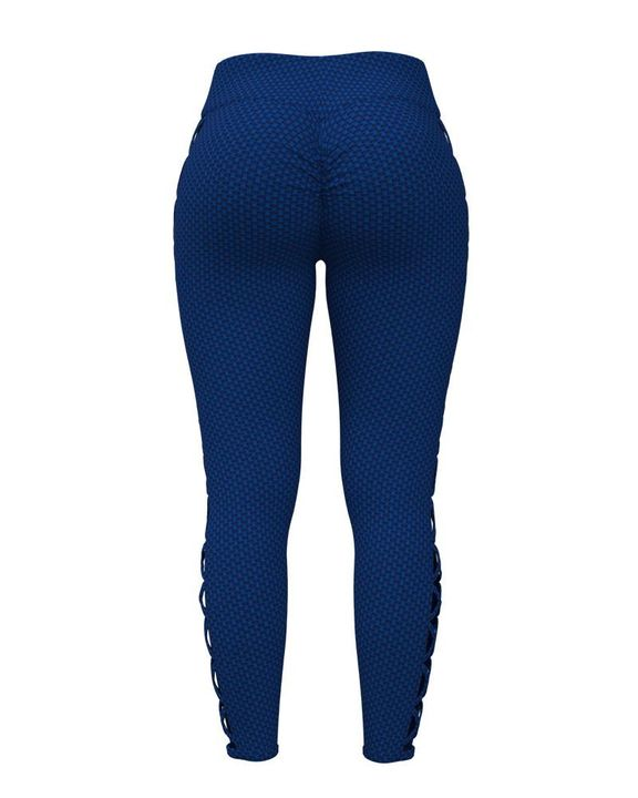 Solid Textured Criss Cross Hollow Out Sports Leggings gallery 4