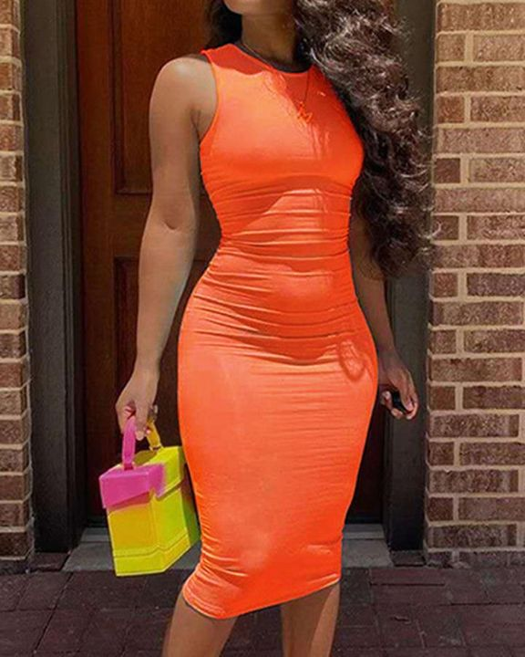 Solid Sleeveless Form Fitted Midi Dress gallery 10