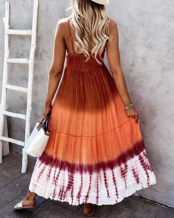 Tie Dye Metallic Tassel Knot Frill Trim Cami Long Dress gallery 6