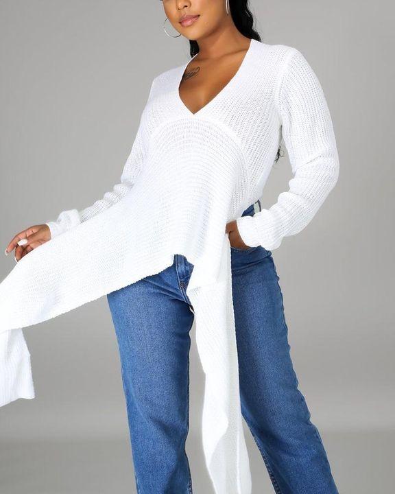 Chunky Knit Split Hem V Neck Sweater gallery 13