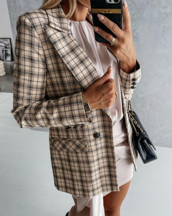 Plaid Print Lapel Neck Gigot Sleeve Button Decor Blazer gallery 3