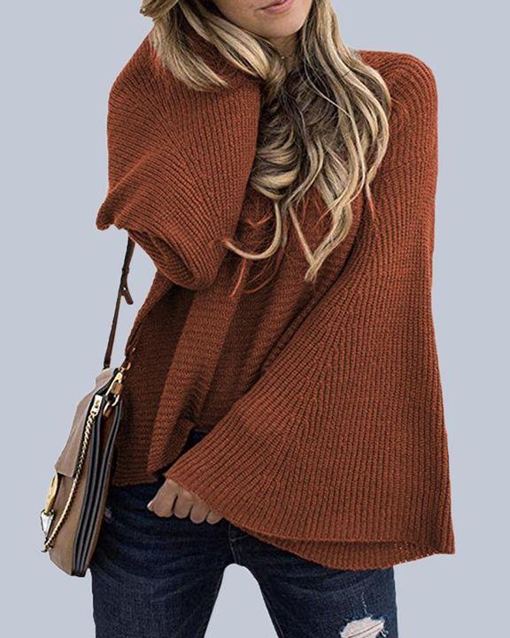 Solid Bell Sleeve Scoop Neck Sweater gallery 11