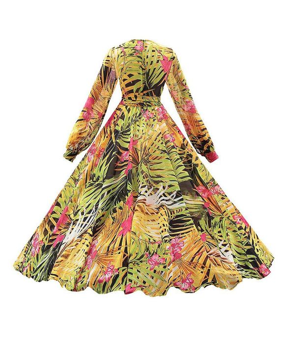Tropical Print Belted Pleated Surplice Neck Maxi Dress gallery 10