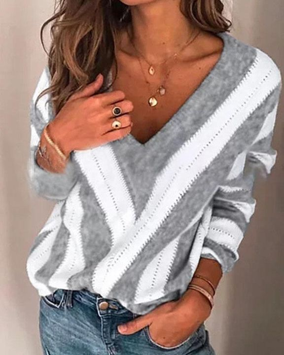 Colorblock Drop Shoulder Ribbed Knit Sweater gallery 5