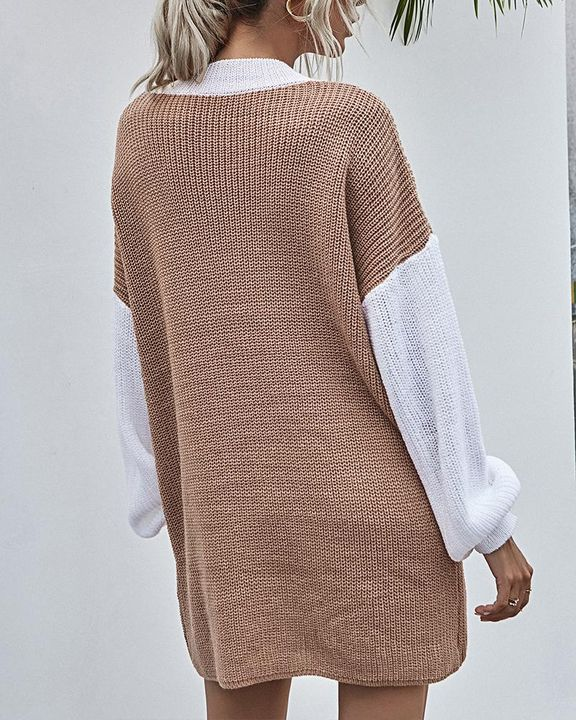 Colorblock Chunky Knit Drop Bishop Sleeve Sweater gallery 2