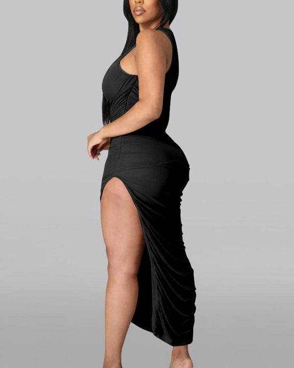 Solid One Shoulder Split Thigh Ruched Dress gallery 9