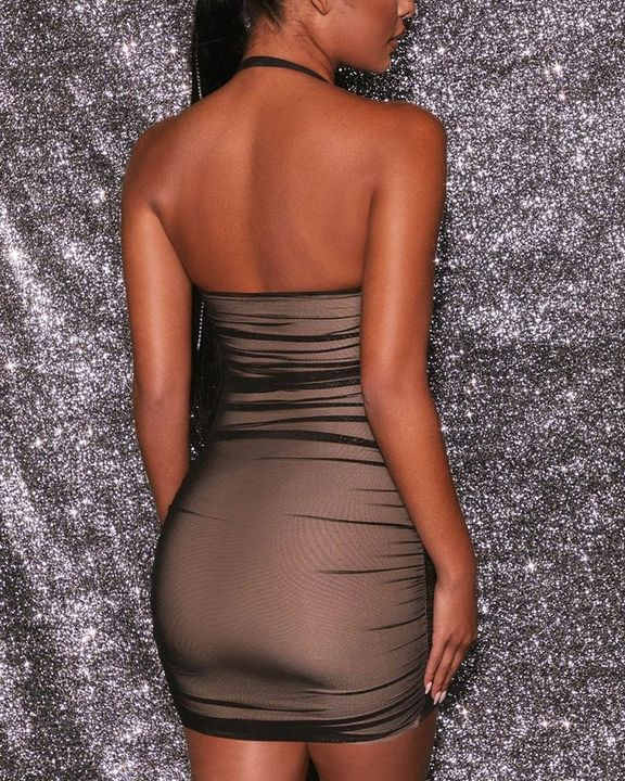 Mesh Ruched Backless Halter Bodycon Dress gallery 6