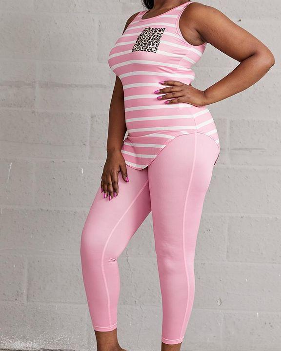 Striped & Leopard Print Curved Hem Top & Pants Set gallery 7