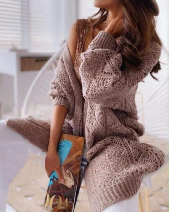 Solid Hollow Out Open Front Cardigan  gallery 2