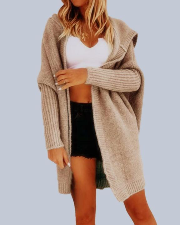 Solid Open Front Hooded Cardigan gallery 3
