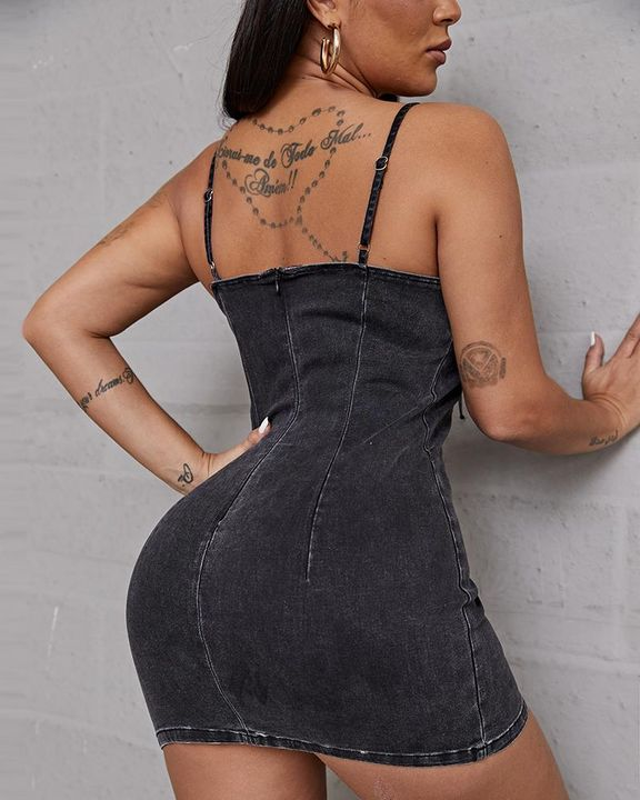 Plus Lace Up Front Cami Denim Dress gallery 13