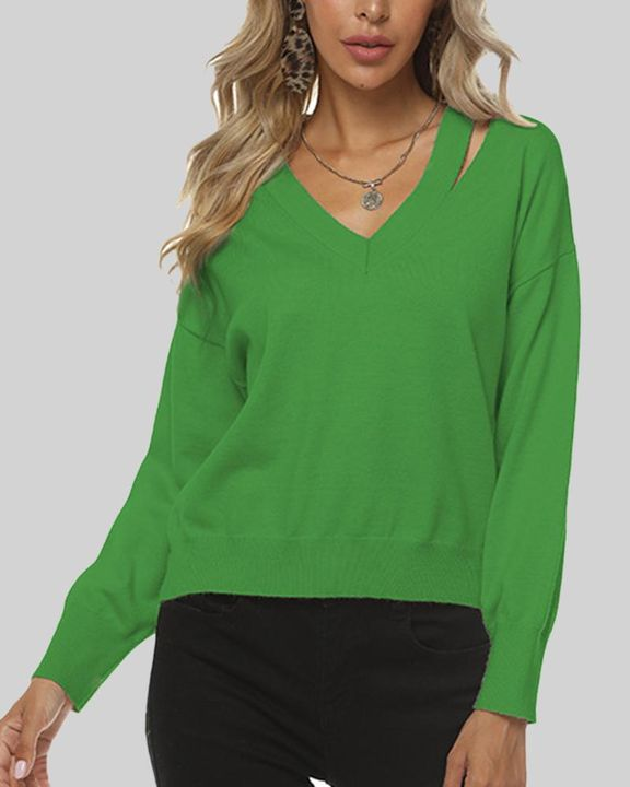 Solid Cutout Asymmetrical V Neck Drop Shoulder Sweater gallery 1