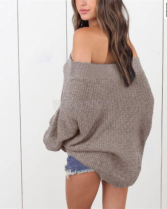 Boat Neck Drop Shoulder Oversized Sweater gallery 8