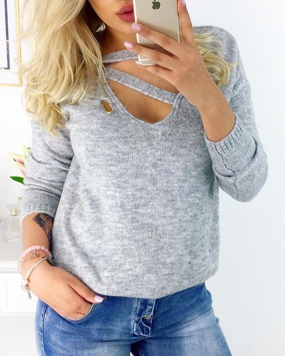 Solid Knot Wrap Long Sleeve Sweater gallery 1