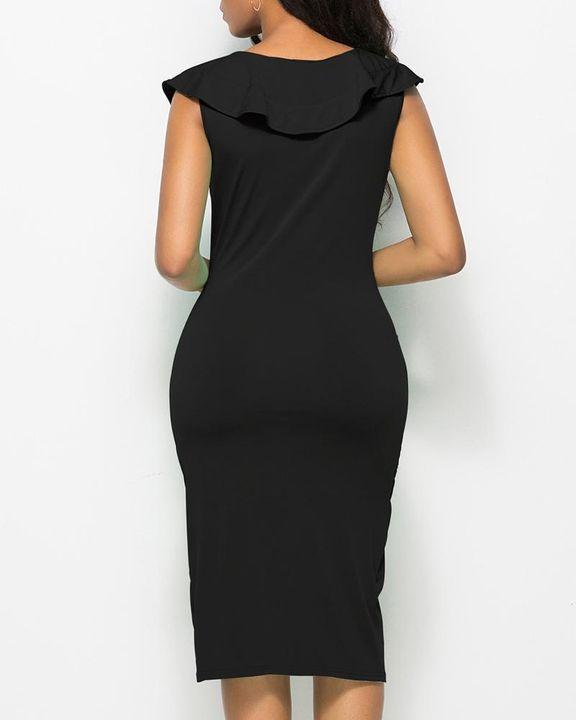 Solid Ruffle Trim Ruched Wrap Asymmetrical Hem Knee Length Dress gallery 9