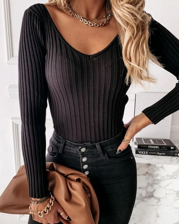 Solid Ribbed V Neck Sweater gallery 2