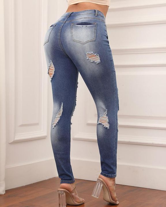 Knee Distressed Butt Lifting Skinny Jeans gallery 4