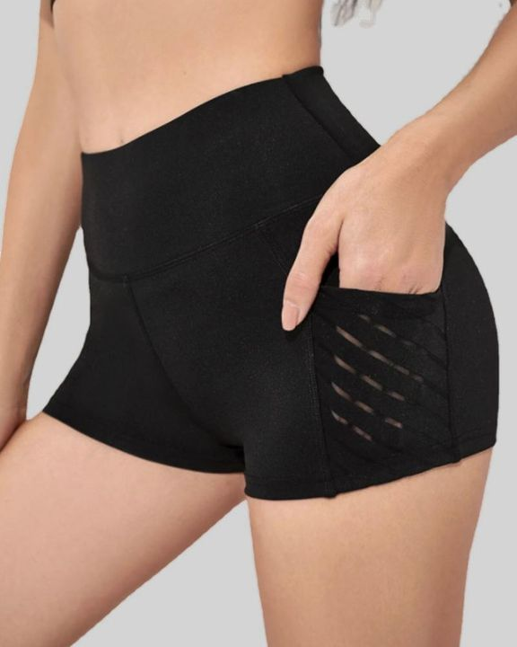 Mesh Insert Pocket Side Butt Lifting Sports Shorts gallery 1