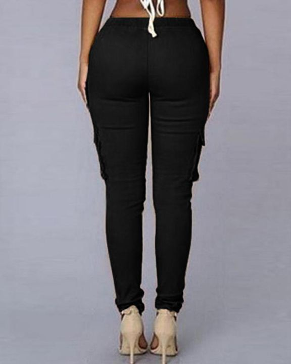 Solid Pocket Detail Drawstring Front Pants gallery 8