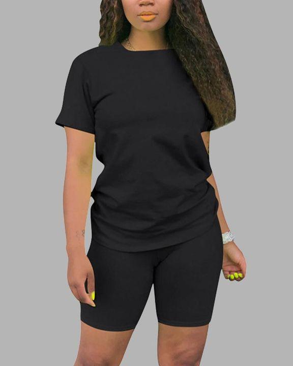 Round Neck Short Sleeve Top & Shorts Set gallery 5