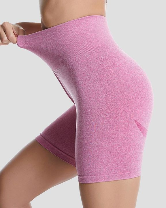 Space Dye Absorbs Sweat Butt Lifting Wide Waistband Sports Shorts gallery 5
