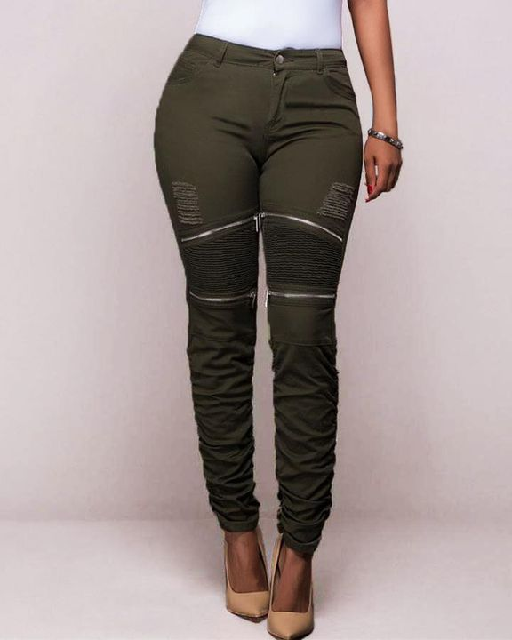 Ripped Zipper Front Stitch Trim Pants gallery 2
