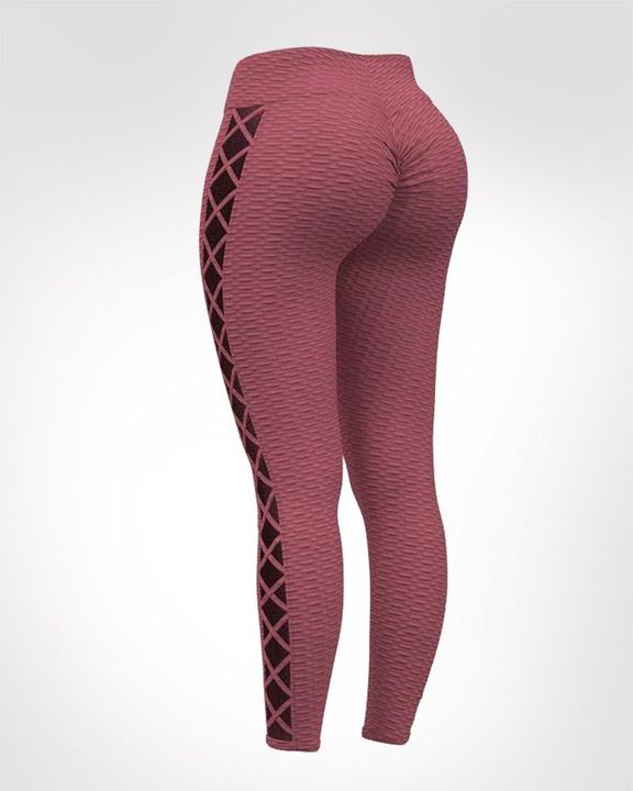Lace Up Side Textured Ruched Sports Leggings gallery 4